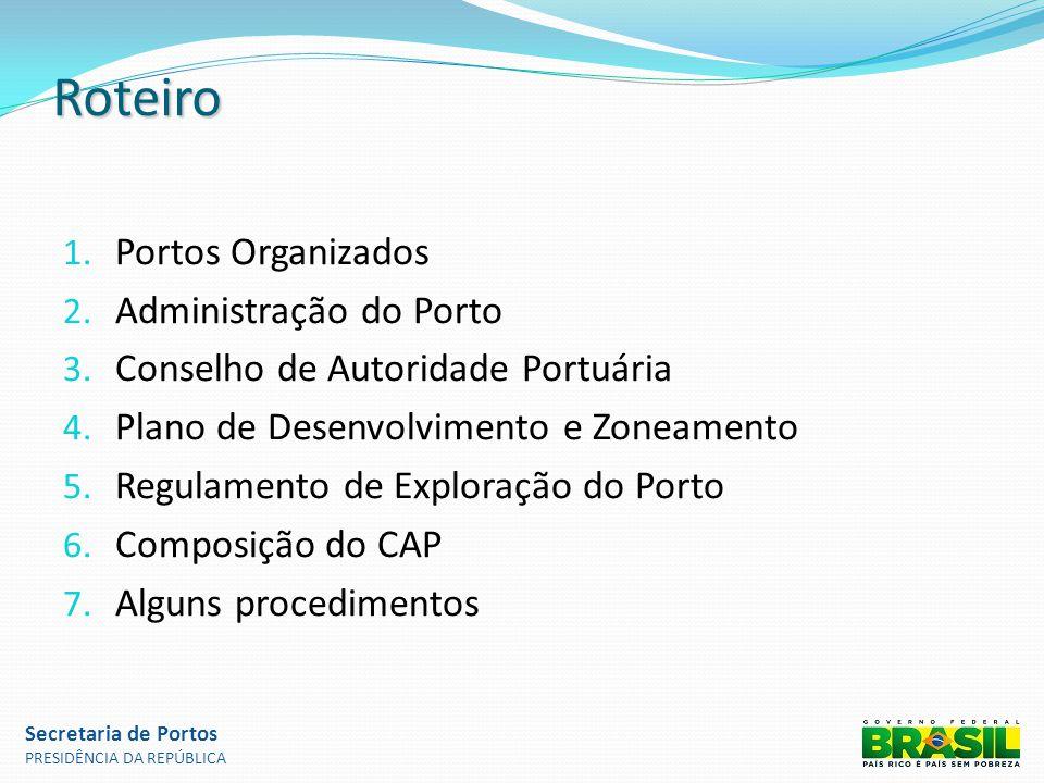 Roteiro 1. Portos Organizados 2. Administração do Porto 3. Conselho de Autoridade Portuária 4. Plano de Desenvolvimento e Zoneamento 5. Regulamento de