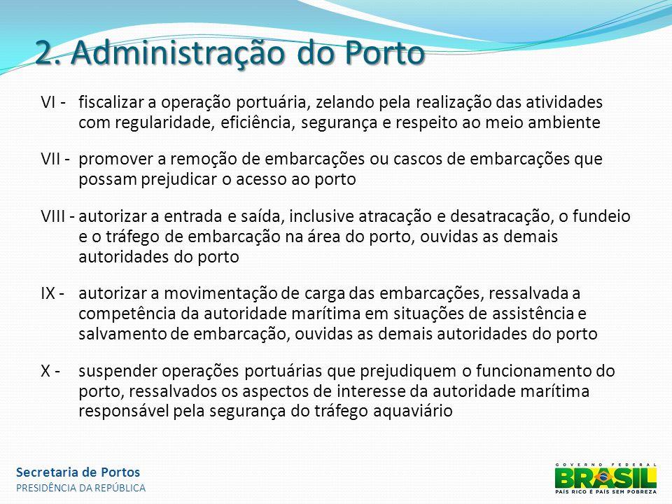 2. Administração do Porto VI -fiscalizar a operação portuária, zelando pela realização das atividades com regularidade, eficiência, segurança e respei