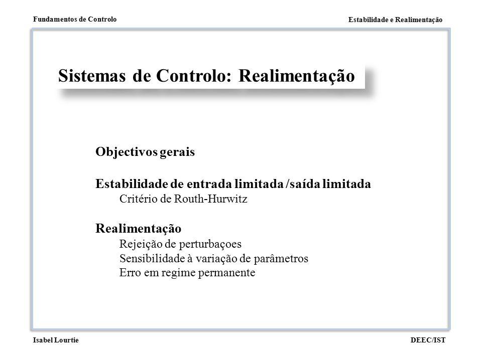 Estabilidade e Realimentação Fundamentos de Controlo DEEC/ISTIsabel Lourtie Sistemas de Controlo Bom seguimento do sinal de referência Boa rejeição dos efeitos das perturbações Rapidez de resposta Estabilidade Pequena sensibilidade à variação de parâmetros Robustez de estabilidade Objectivos Gerais: