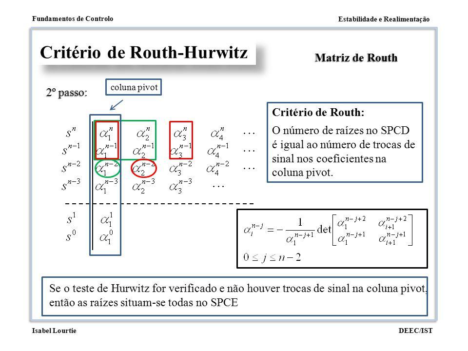 Estabilidade e Realimentação Fundamentos de Controlo DEEC/ISTIsabel Lourtie Critério de Routh-Hurwitz Matriz de Routh 2º passo: coluna pivot Critério