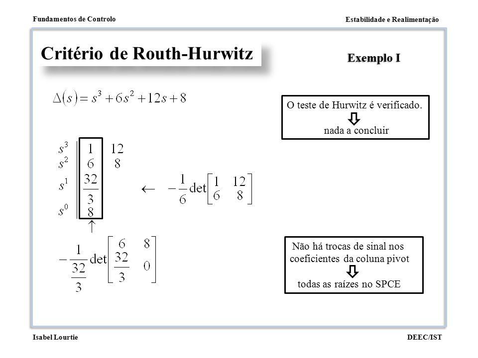 Estabilidade e Realimentação Fundamentos de Controlo DEEC/ISTIsabel Lourtie Critério de Routh-Hurwitz Exemplo I O teste de Hurwitz é verificado. nada
