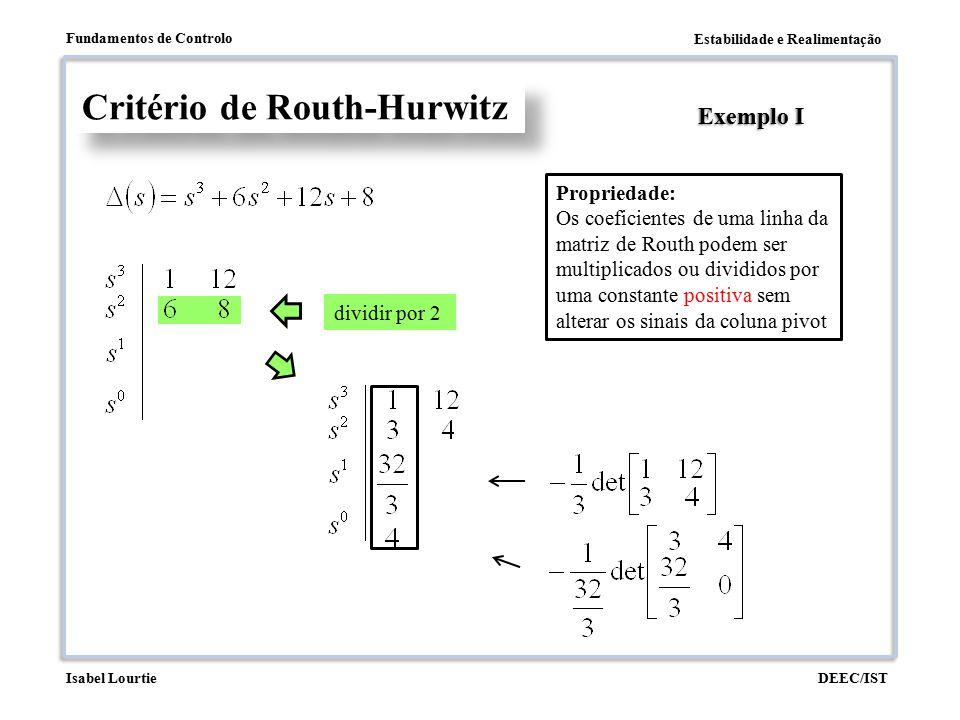 Estabilidade e Realimentação Fundamentos de Controlo DEEC/ISTIsabel Lourtie dividir por 2 Critério de Routh-Hurwitz Exemplo I Propriedade: Os coeficie