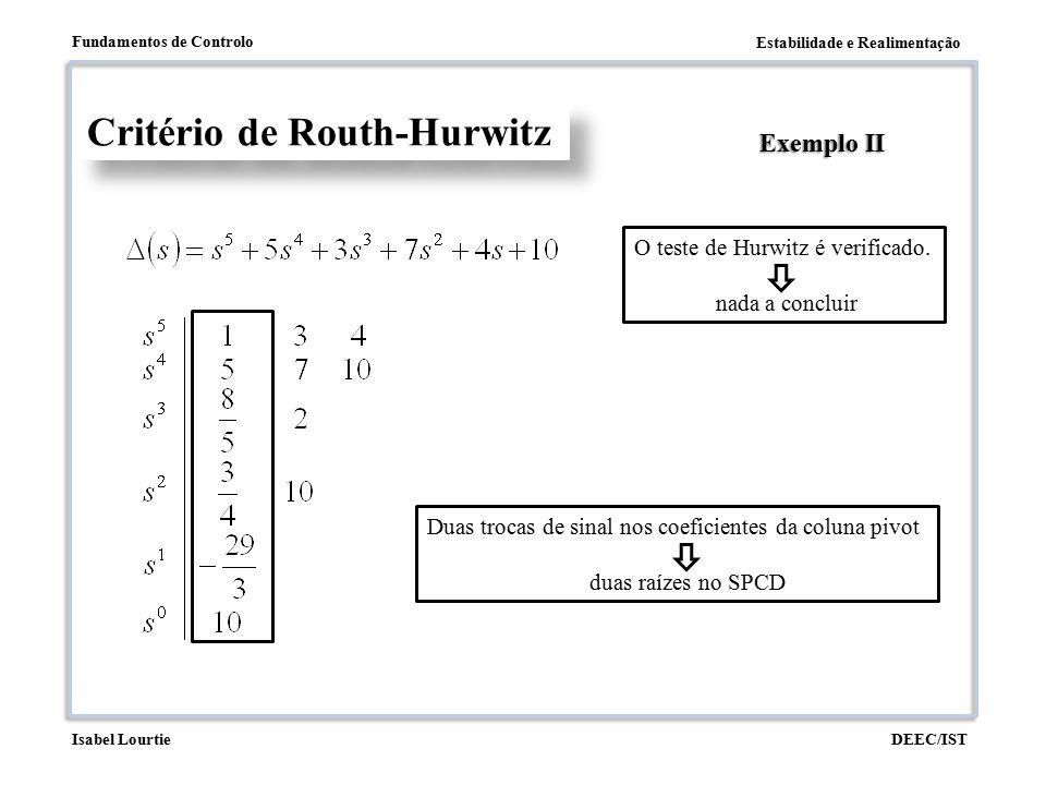 Estabilidade e Realimentação Fundamentos de Controlo DEEC/ISTIsabel Lourtie Critério de Routh-Hurwitz Exemplo II O teste de Hurwitz é verificado. nada
