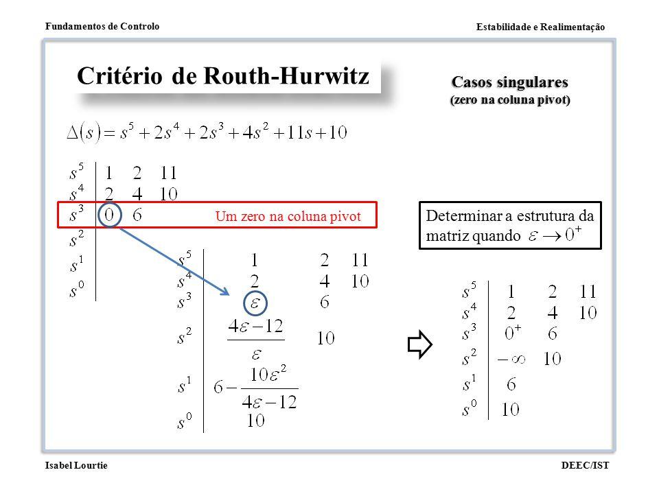 Estabilidade e Realimentação Fundamentos de Controlo DEEC/ISTIsabel Lourtie Critério de Routh-Hurwitz Casos singulares (zero na coluna pivot) Um zero