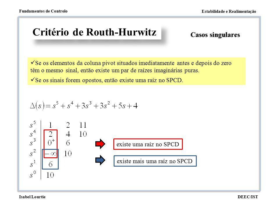 Estabilidade e Realimentação Fundamentos de Controlo DEEC/ISTIsabel Lourtie Critério de Routh-Hurwitz Casos singulares Se os elementos da coluna pivot