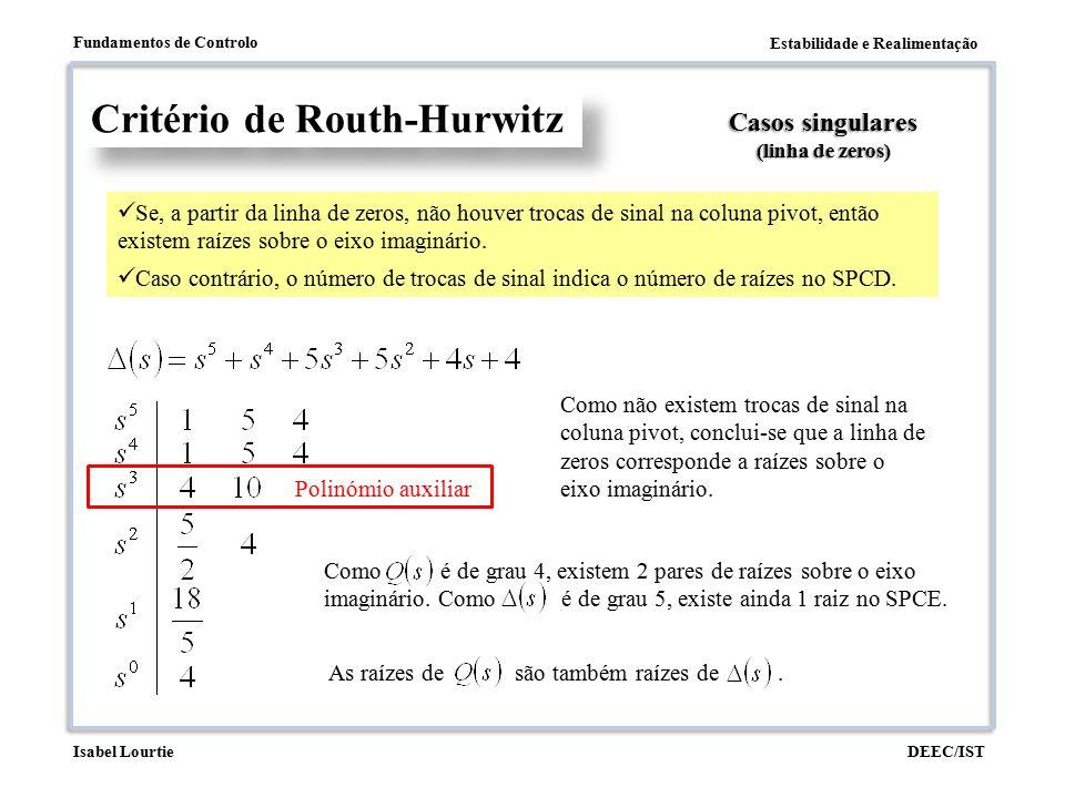 Estabilidade e Realimentação Fundamentos de Controlo DEEC/ISTIsabel Lourtie Polinómio auxiliar Critério de Routh-Hurwitz Casos singulares (linha de ze
