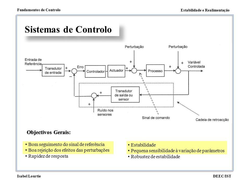 Estabilidade e Realimentação Fundamentos de Controlo DEEC/ISTIsabel Lourtie Sensibilidade à variação de parâmetros Sensibilidade de M(s) relativamente a G(s): Quanto maior KGH menos sensível se torna a função de transferência em cadeia fechada a variações de parâmetros no sistema, G(s), a controlar.