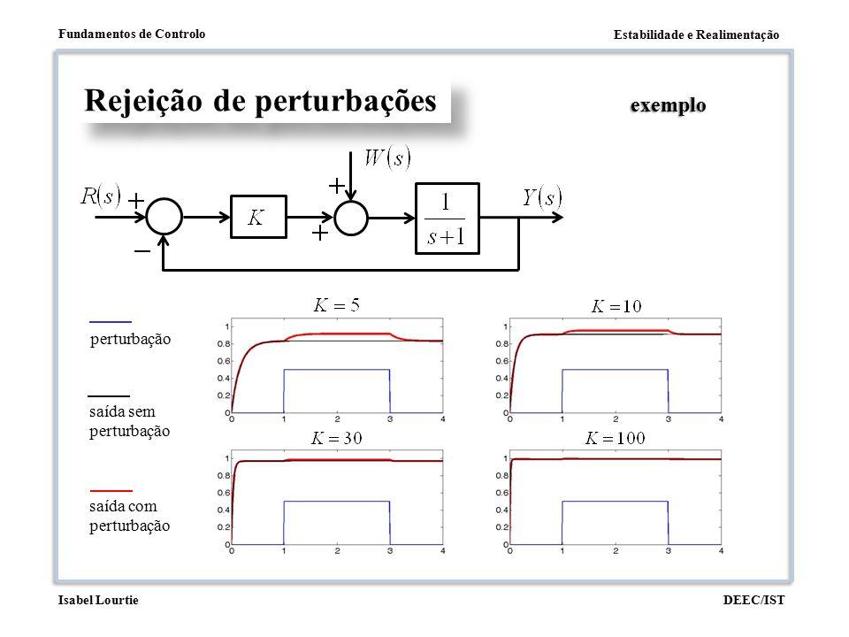 Estabilidade e Realimentação Fundamentos de Controlo DEEC/ISTIsabel Lourtie Rejeição de perturbações exemplo saída sem perturbação perturbação saída c
