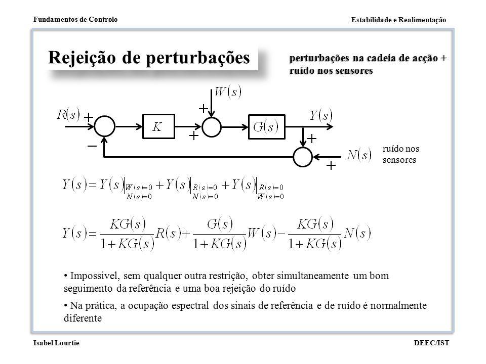 Estabilidade e Realimentação Fundamentos de Controlo DEEC/ISTIsabel Lourtie Rejeição de perturbações perturbações na cadeia de acção + ruído nos senso