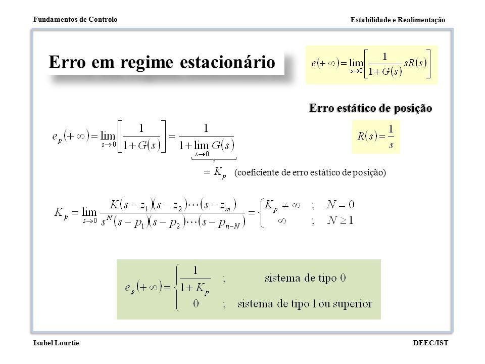 Estabilidade e Realimentação Fundamentos de Controlo DEEC/ISTIsabel Lourtie Erro em regime estacionário Erro estático de posição (coeficiente de erro