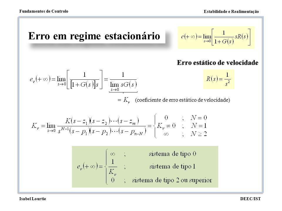 Estabilidade e Realimentação Fundamentos de Controlo DEEC/ISTIsabel Lourtie Erro em regime estacionário Erro estático de velocidade (coeficiente de er