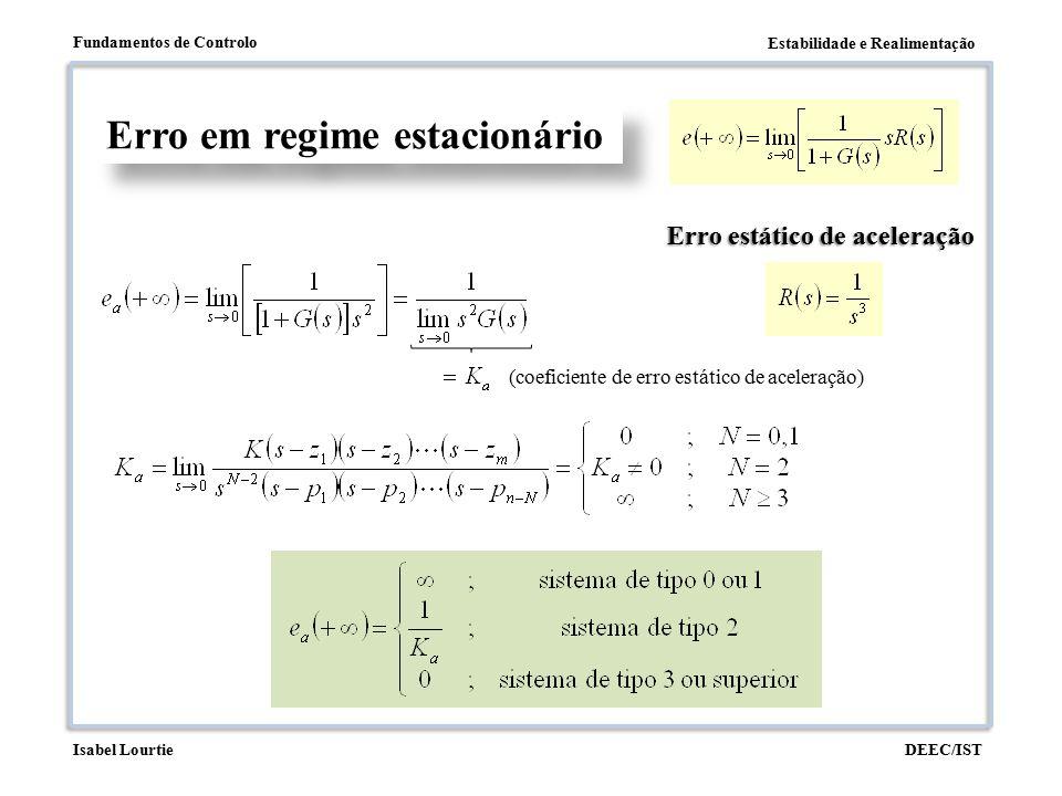 Estabilidade e Realimentação Fundamentos de Controlo DEEC/ISTIsabel Lourtie Erro em regime estacionário Erro estático de aceleração (coeficiente de er