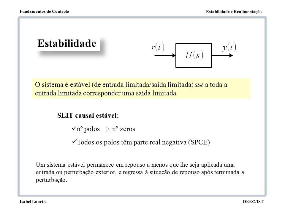 Estabilidade e Realimentação Fundamentos de Controlo DEEC/ISTIsabel Lourtie Estabilidade O sistema é estável (de entrada limitada/saída limitada) sse