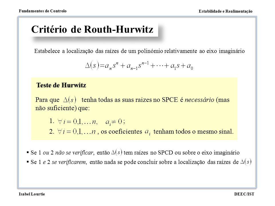 Estabilidade e Realimentação Fundamentos de Controlo DEEC/ISTIsabel Lourtie Polinómio auxiliar Critério de Routh-Hurwitz Casos singulares (linha de zeros) Se, a partir da linha de zeros, não houver trocas de sinal na coluna pivot, então existem raízes sobre o eixo imaginário.