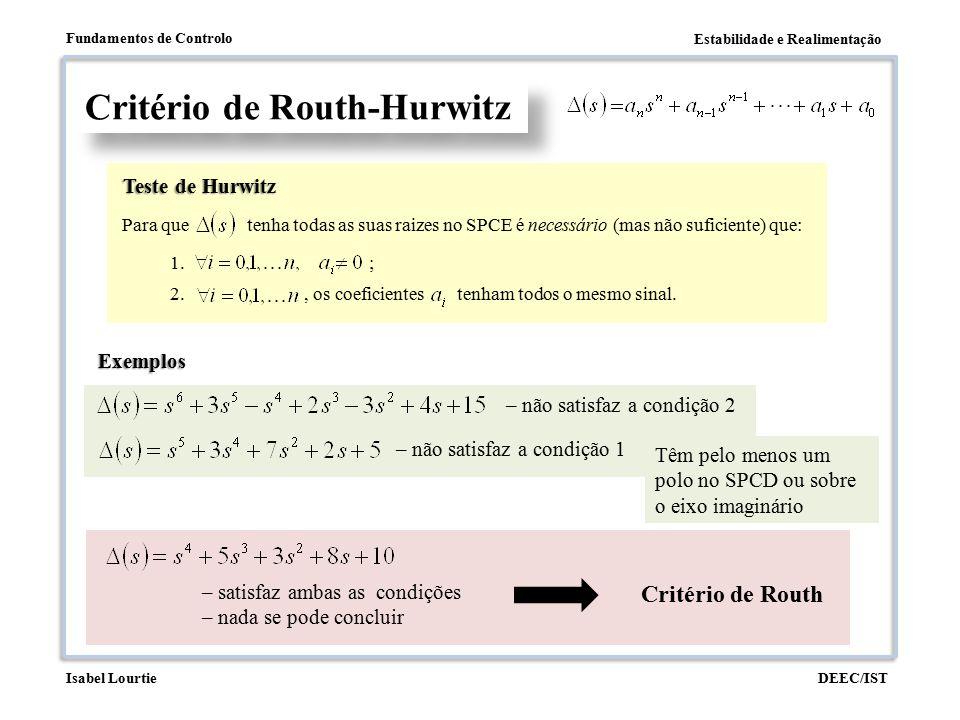 Estabilidade e Realimentação Fundamentos de Controlo DEEC/ISTIsabel Lourtie Critério de Routh-Hurwitz Exemplo Para que valores de é o sistema estável.