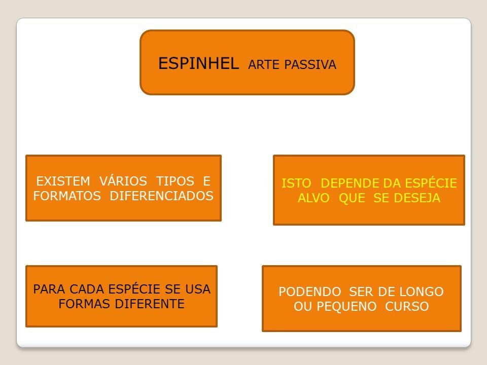 ESPINHEL ARTE PASSIVA EXISTEM VÁRIOS TIPOS E FORMATOS DIFERENCIADOS ISTO DEPENDE DA ESPÉCIE ALVO QUE SE DESEJA PARA CADA ESPÉCIE SE USA FORMAS DIFEREN