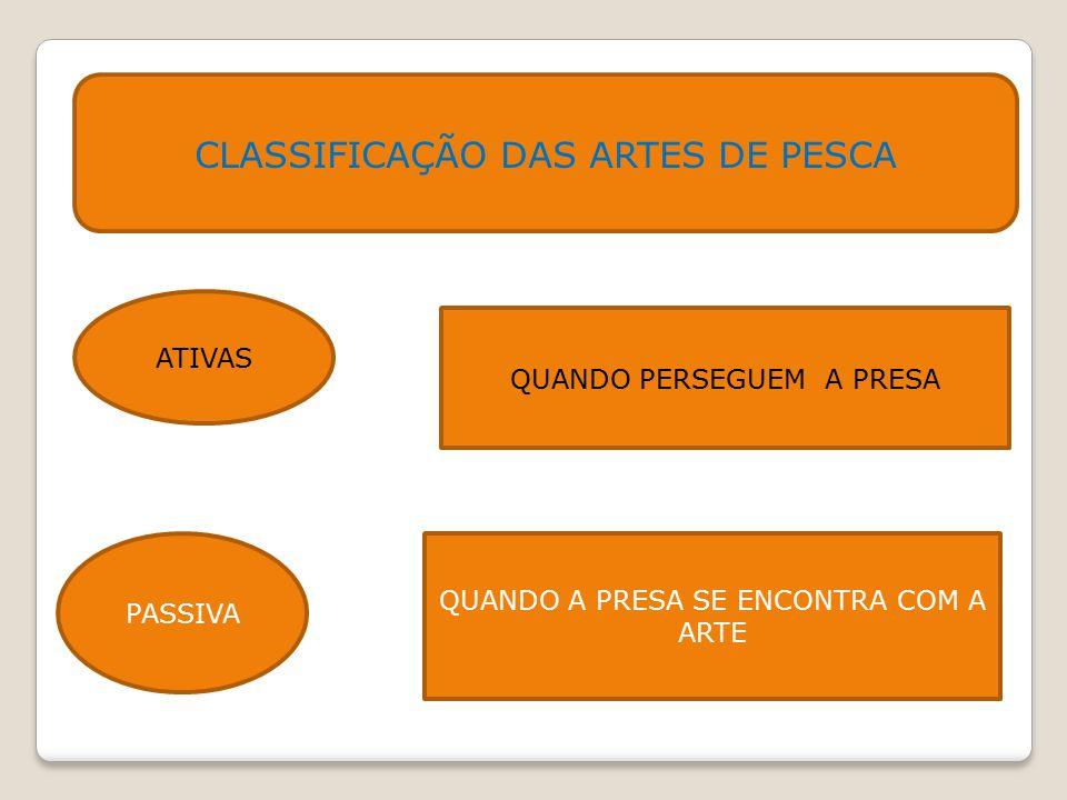 CLASSIFICAÇÃO DAS ARTES DE PESCA ATIVAS QUANDO PERSEGUEM A PRESA PASSIVA QUANDO A PRESA SE ENCONTRA COM A ARTE