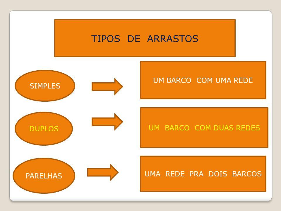TIPOS DE ARRASTOS SIMPLES UM BARCO COM UMA REDE DUPLOS UM BARCO COM DUAS REDES PARELHAS UMA REDE PRA DOIS BARCOS