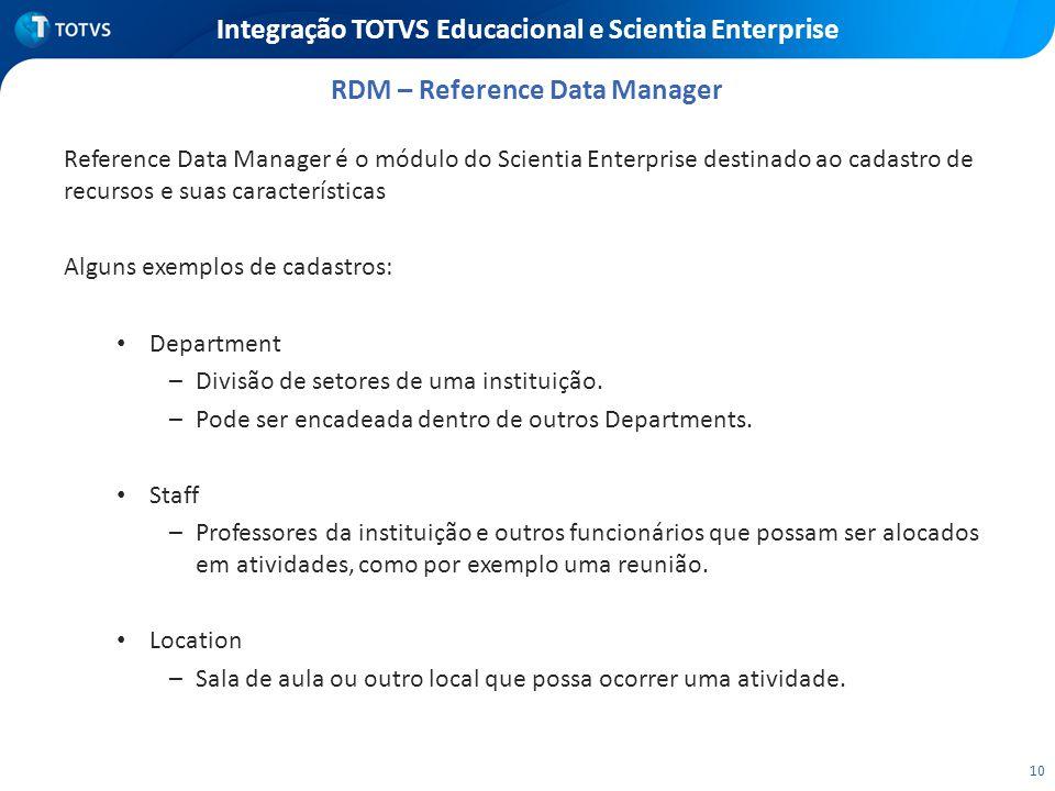 10 Integração TOTVS Educacional e Scientia Enterprise Reference Data Manager é o módulo do Scientia Enterprise destinado ao cadastro de recursos e sua