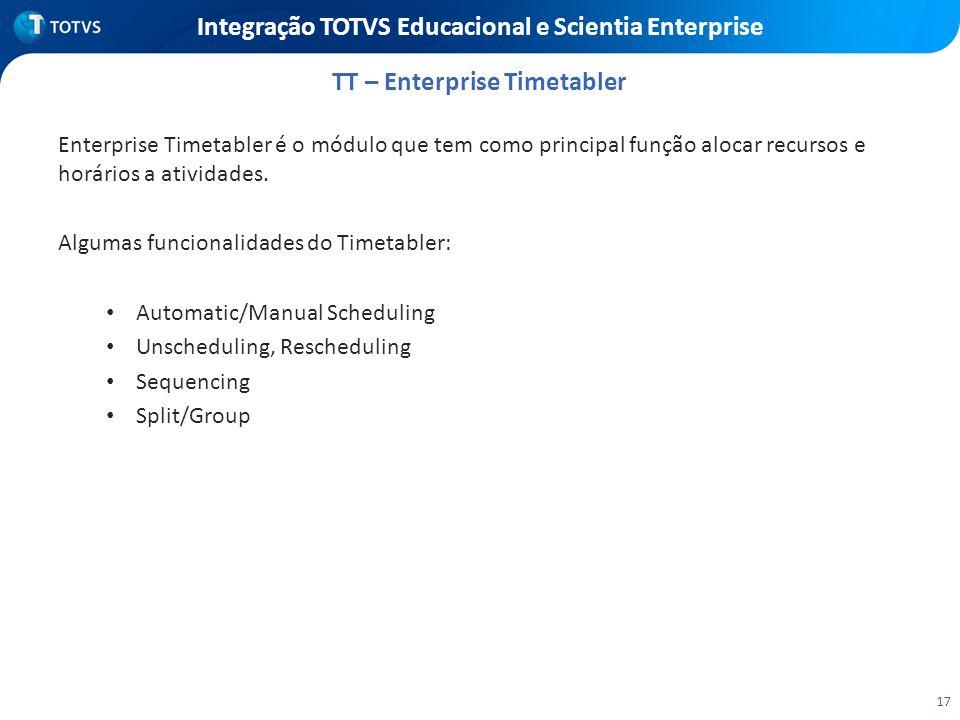 17 Integração TOTVS Educacional e Scientia Enterprise Enterprise Timetabler é o módulo que tem como principal função alocar recursos e horários a ativ