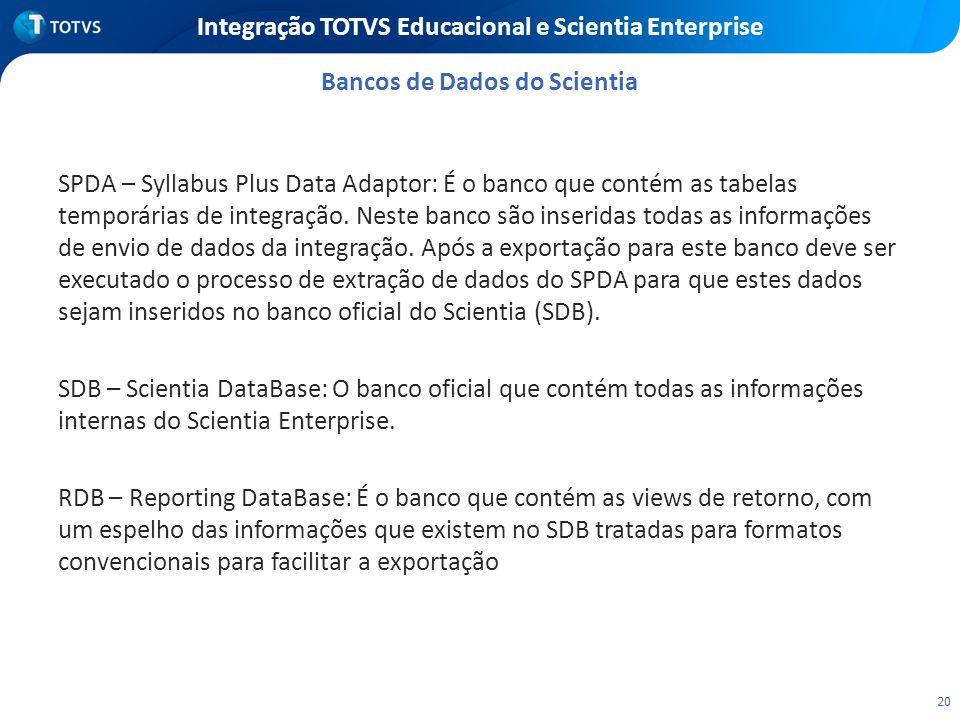 20 Integração TOTVS Educacional e Scientia Enterprise SPDA – Syllabus Plus Data Adaptor: É o banco que contém as tabelas temporárias de integração. Ne