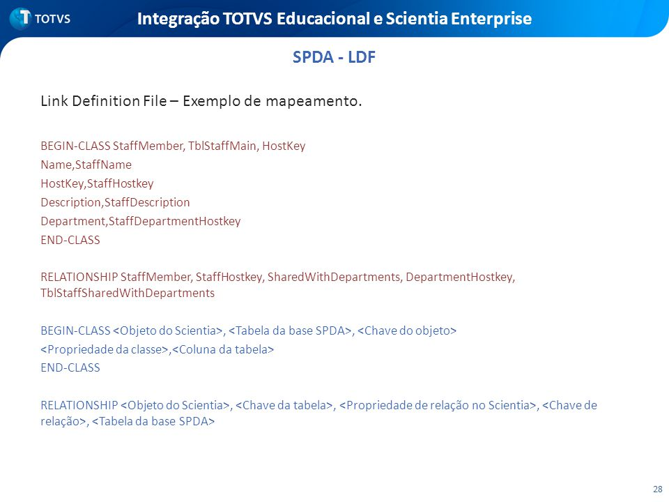 28 Integração TOTVS Educacional e Scientia Enterprise Link Definition File – Exemplo de mapeamento.