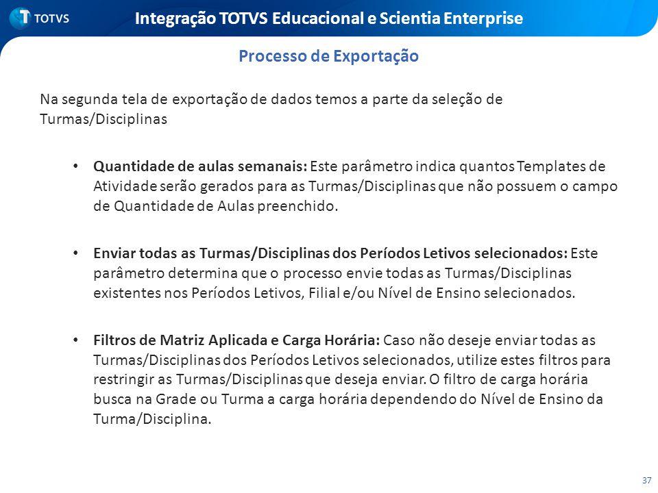 37 Integração TOTVS Educacional e Scientia Enterprise Na segunda tela de exportação de dados temos a parte da seleção de Turmas/Disciplinas Quantidade