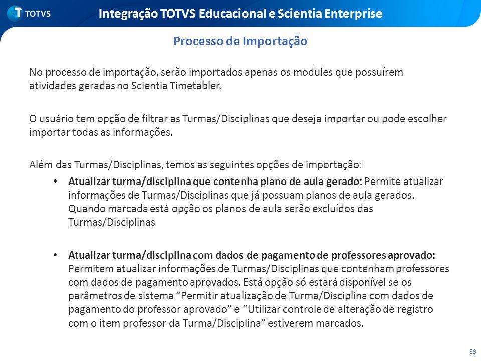 39 Integração TOTVS Educacional e Scientia Enterprise No processo de importação, serão importados apenas os modules que possuírem atividades geradas n
