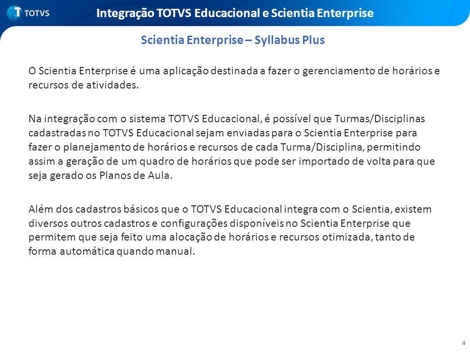 4 Integração TOTVS Educacional e Scientia Enterprise O Scientia Enterprise é uma aplicação destinada a fazer o gerenciamento de horários e recursos de