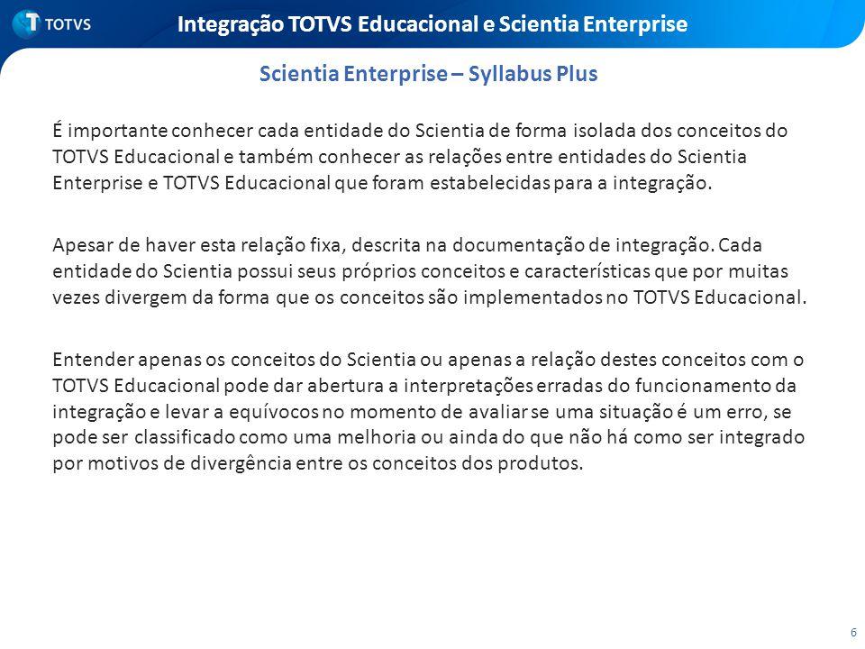 6 Integração TOTVS Educacional e Scientia Enterprise É importante conhecer cada entidade do Scientia de forma isolada dos conceitos do TOTVS Educacion