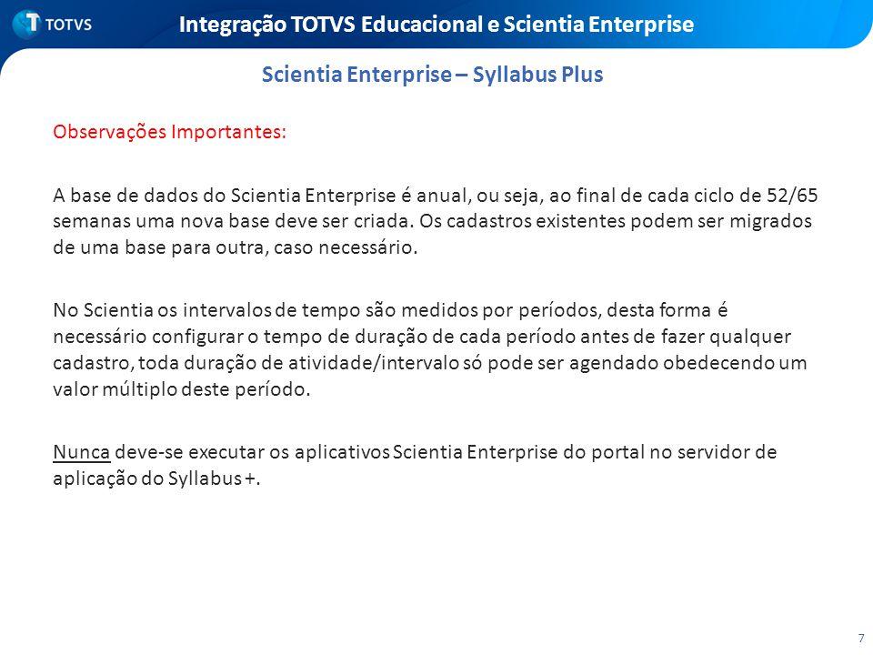 7 Integração TOTVS Educacional e Scientia Enterprise Observações Importantes: A base de dados do Scientia Enterprise é anual, ou seja, ao final de cad