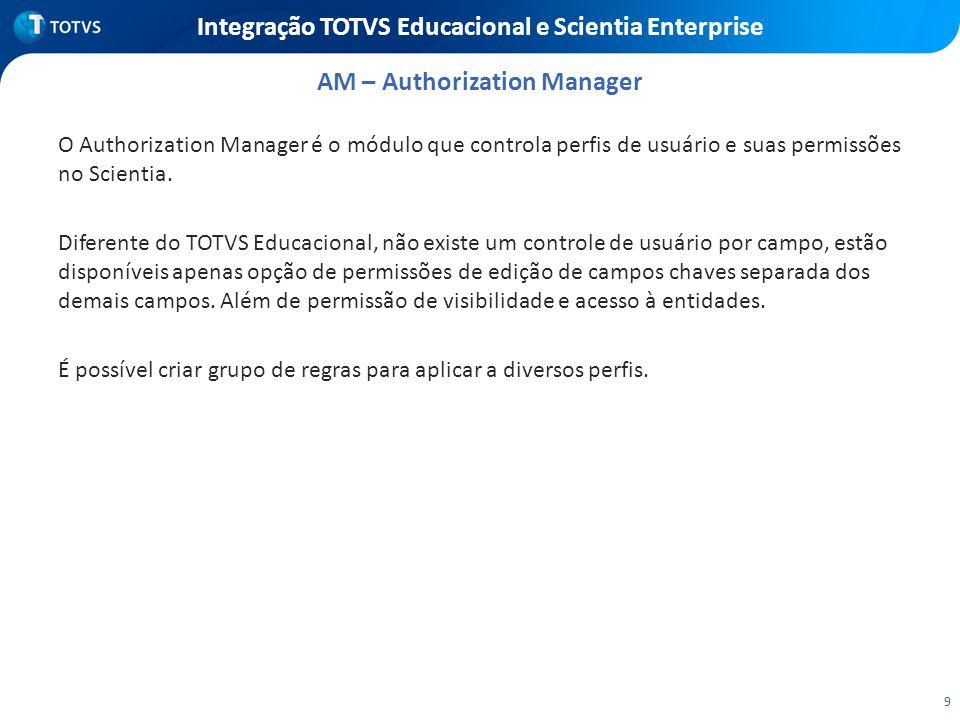 9 Integração TOTVS Educacional e Scientia Enterprise O Authorization Manager é o módulo que controla perfis de usuário e suas permissões no Scientia.