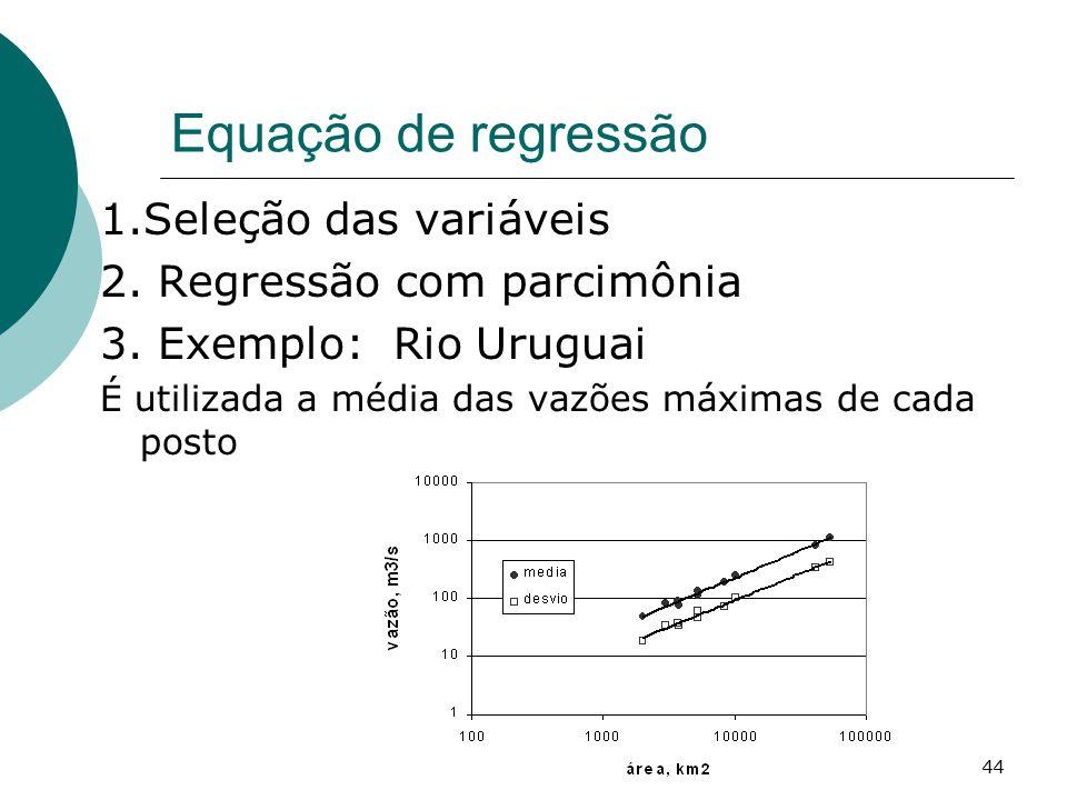 44 Equação de regressão 1.Seleção das variáveis 2. Regressão com parcimônia 3. Exemplo: Rio Uruguai É utilizada a média das vazões máximas de cada pos