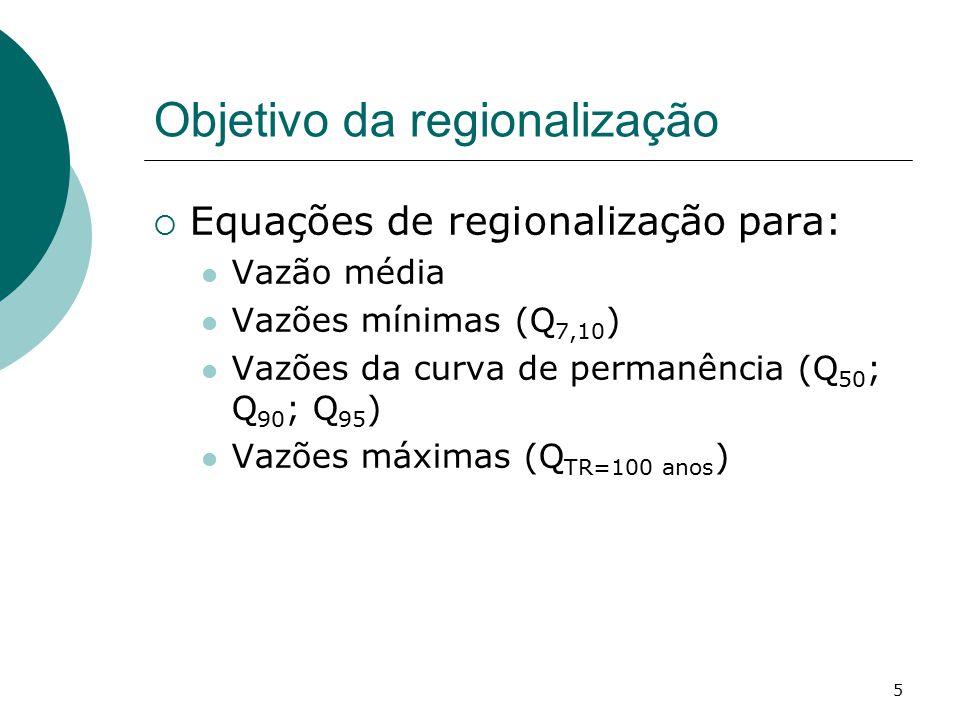 Objetivo da regionalização  Equações de regionalização para: Vazão média Vazões mínimas (Q 7,10 ) Vazões da curva de permanência (Q 50 ; Q 90 ; Q 95