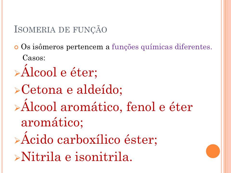 I SOMERIA DE FUNÇÃO Os isômeros pertencem a funções químicas diferentes. Casos:  Álcool e éter;  Cetona e aldeído;  Álcool aromático, fenol e éter