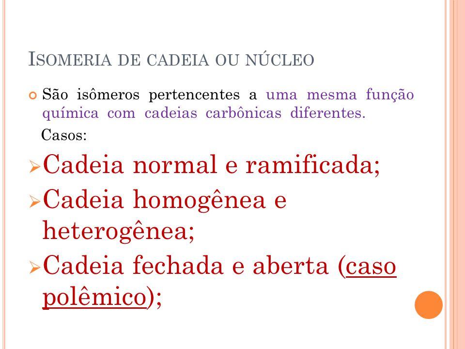 I SOMERIA DE CADEIA OU NÚCLEO São isômeros pertencentes a uma mesma função química com cadeias carbônicas diferentes. Casos:  Cadeia normal e ramific
