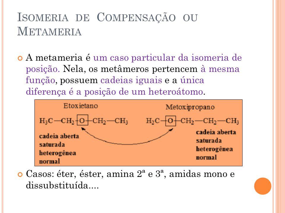 I SOMERIA DE C OMPENSAÇÃO OU M ETAMERIA A metameria é um caso particular da isomeria de posição. Nela, os metâmeros pertencem à mesma função, possuem