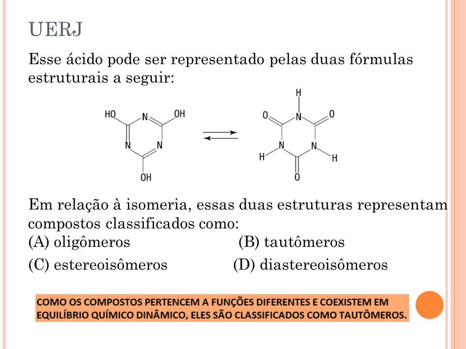UERJ Esse ácido pode ser representado pelas duas fórmulas estruturais a seguir: Em relação à isomeria, essas duas estruturas representam compostos cla