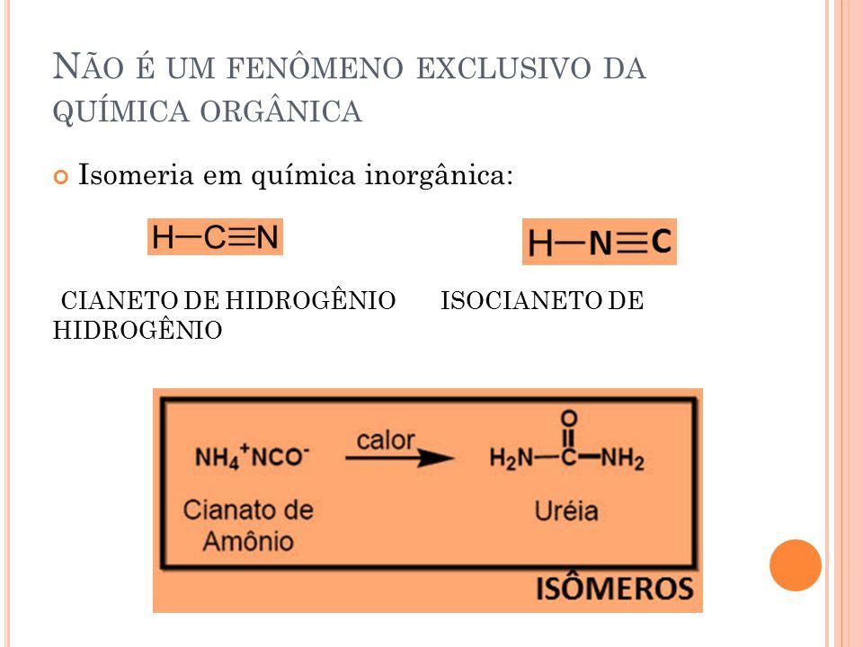 T IPOS DE ISOMERIA Isomeria Plana ou constitucional ou estrutural – Os isômeros podem ser diferenciados pela fórmula estrutural plana.