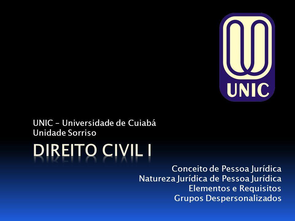 UNIC – Universidade de Cuiabá Unidade Sorriso Conceito de Pessoa Jurídica Natureza Jurídica de Pessoa Jurídica Elementos e Requisitos Grupos Desperson