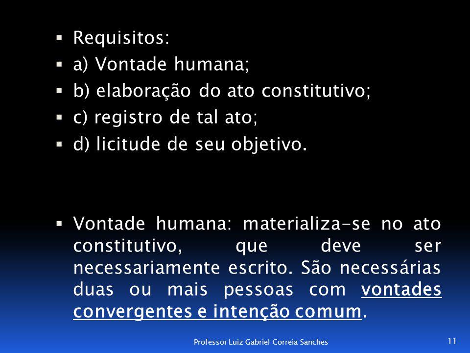  Requisitos:  a) Vontade humana;  b) elaboração do ato constitutivo;  c) registro de tal ato;  d) licitude de seu objetivo.  Vontade humana: mat