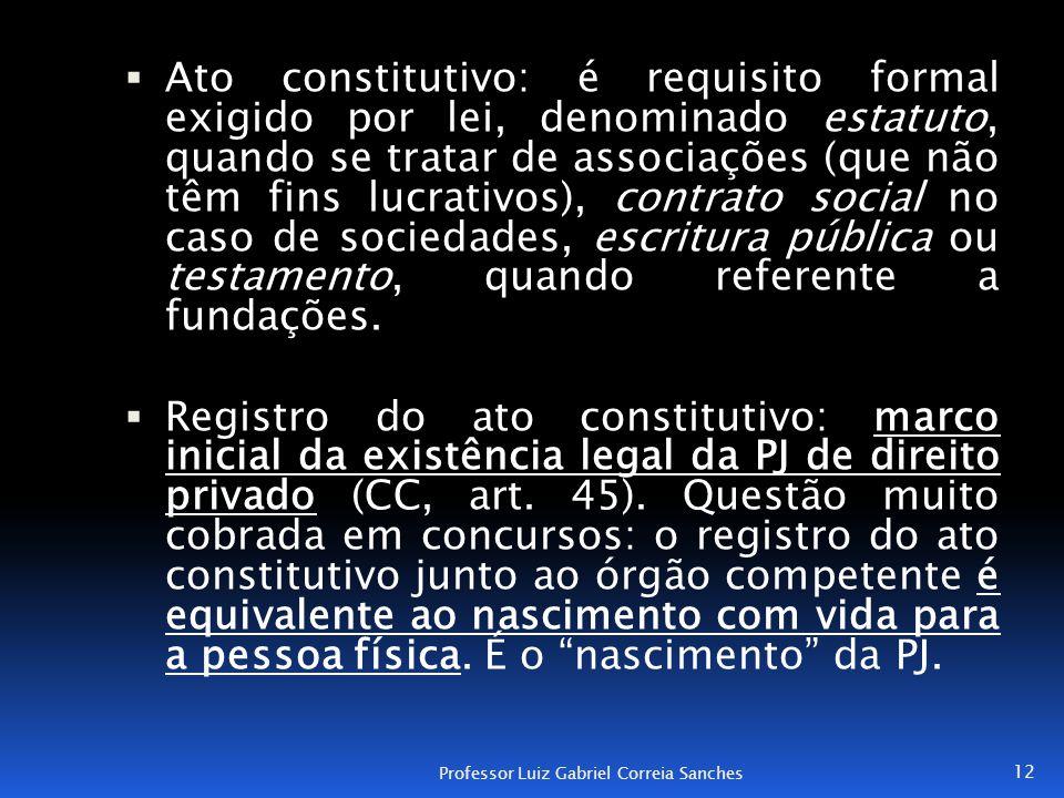  Ato constitutivo: é requisito formal exigido por lei, denominado estatuto, quando se tratar de associações (que não têm fins lucrativos), contrato s