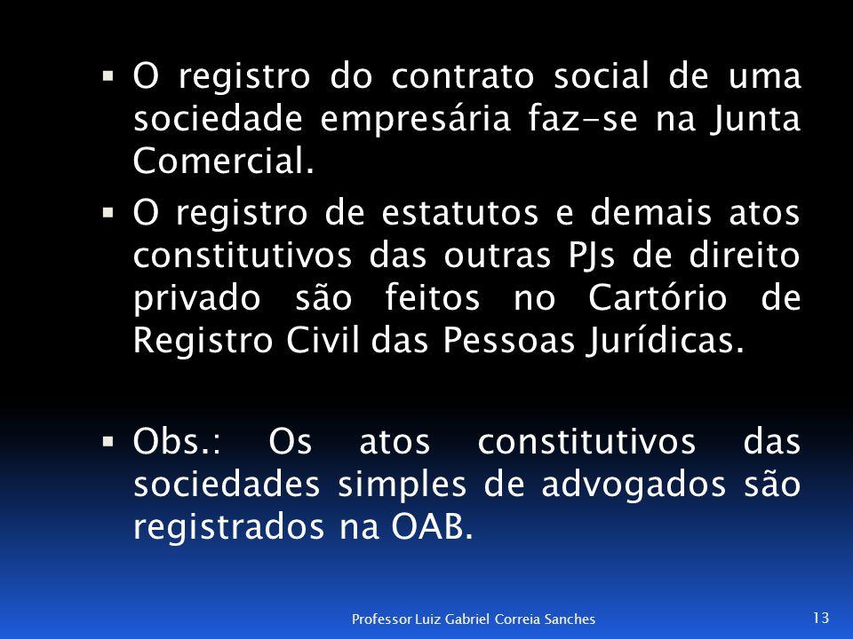  O registro do contrato social de uma sociedade empresária faz-se na Junta Comercial.  O registro de estatutos e demais atos constitutivos das outra