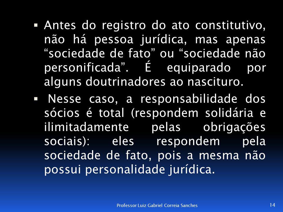 """ Antes do registro do ato constitutivo, não há pessoa jurídica, mas apenas """"sociedade de fato"""" ou """"sociedade não personificada"""". É equiparado por alg"""