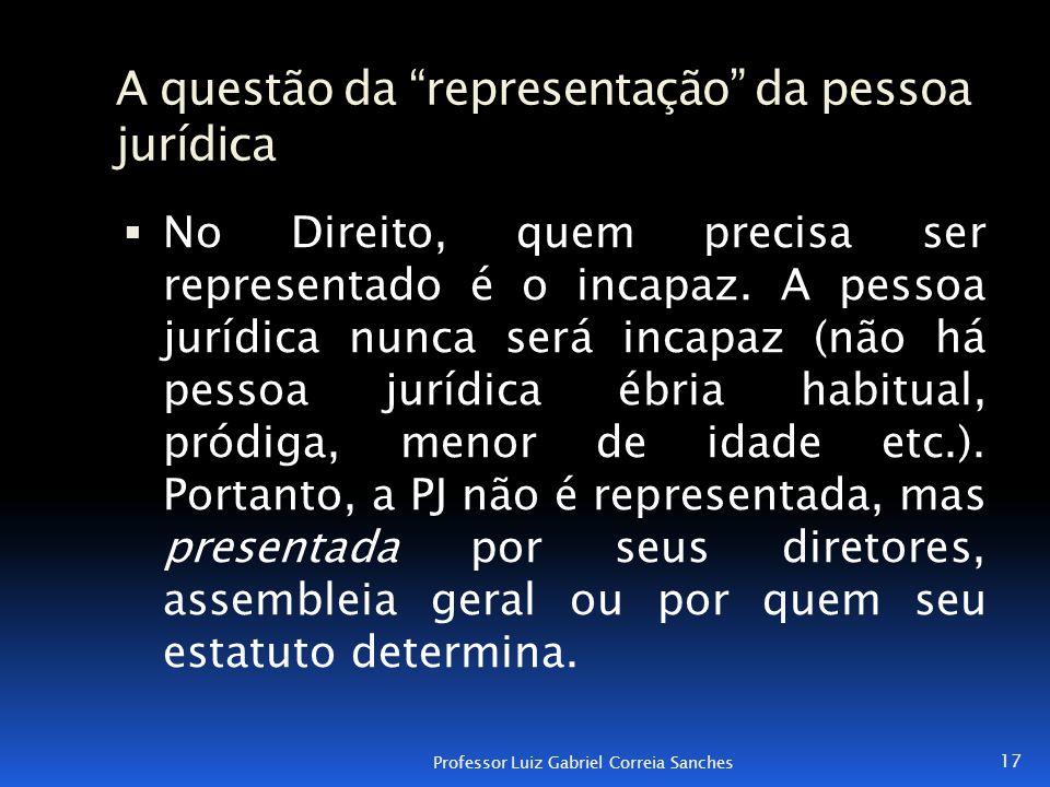"""A questão da """"representação"""" da pessoa jurídica  No Direito, quem precisa ser representado é o incapaz. A pessoa jurídica nunca será incapaz (não há"""