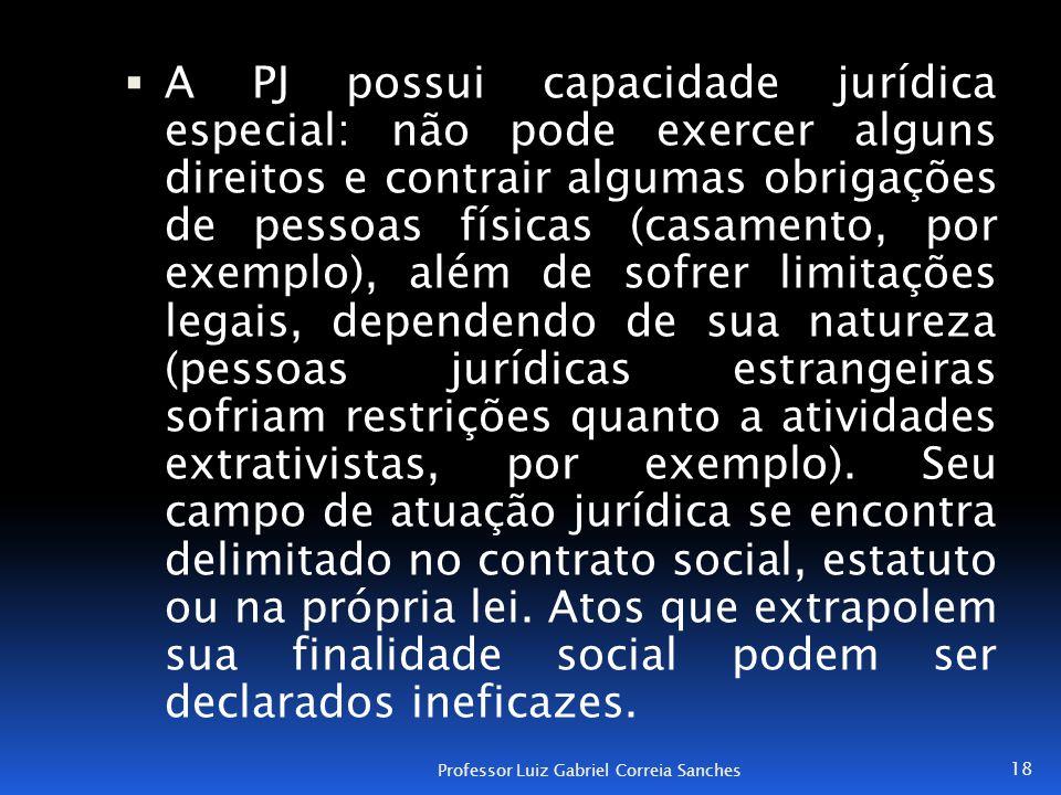  A PJ possui capacidade jurídica especial: não pode exercer alguns direitos e contrair algumas obrigações de pessoas físicas (casamento, por exemplo)