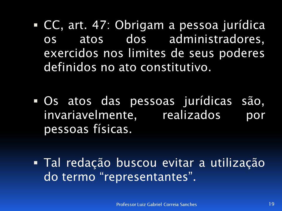  CC, art. 47: Obrigam a pessoa jurídica os atos dos administradores, exercidos nos limites de seus poderes definidos no ato constitutivo.  Os atos d