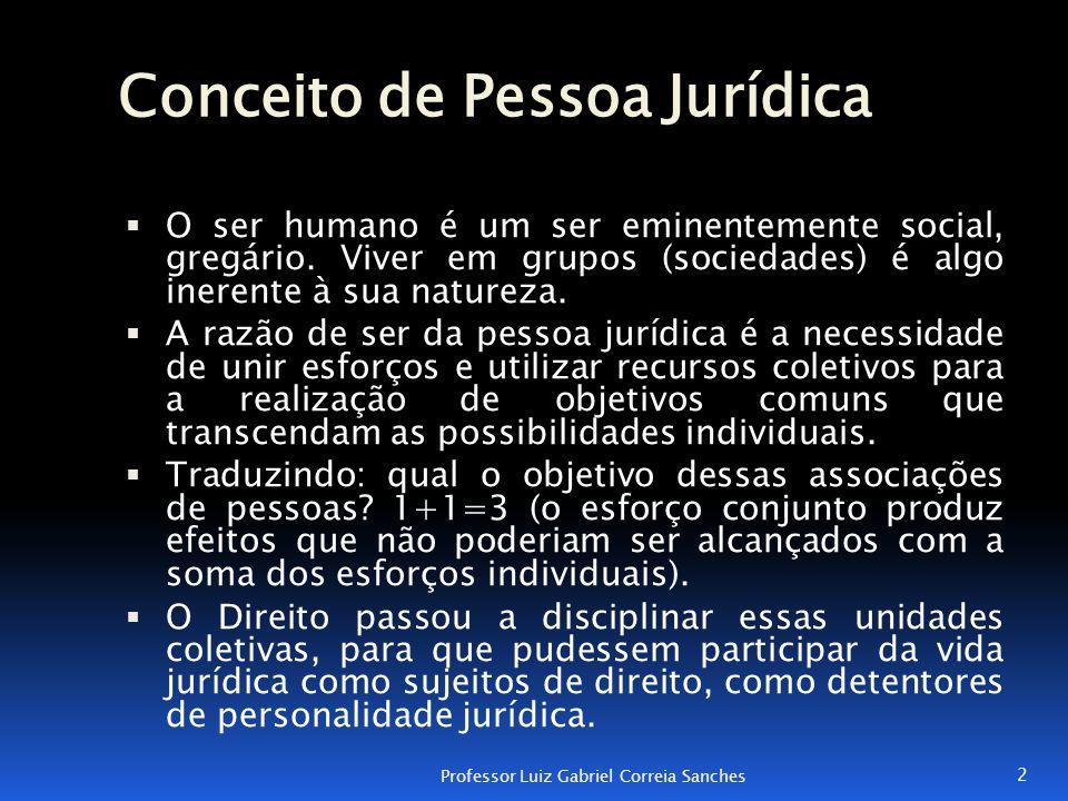 Conceito de Pessoa Jurídica  O ser humano é um ser eminentemente social, gregário. Viver em grupos (sociedades) é algo inerente à sua natureza.  A r