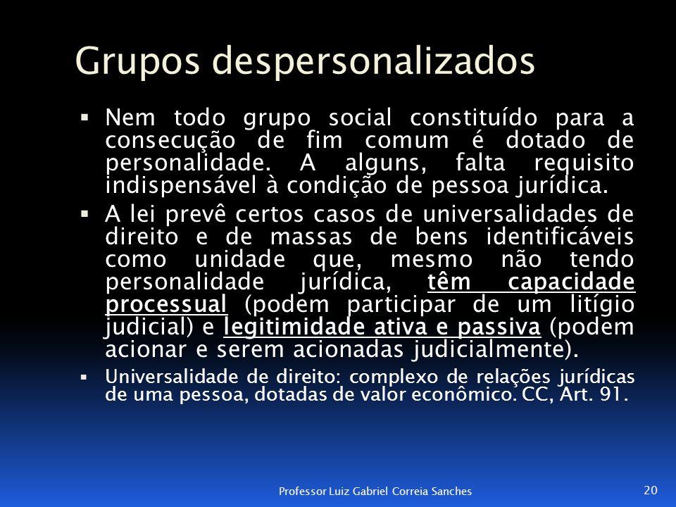 Grupos despersonalizados  Nem todo grupo social constituído para a consecução de fim comum é dotado de personalidade. A alguns, falta requisito indis