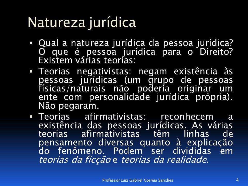 Natureza jurídica  Qual a natureza jurídica da pessoa jurídica? O que é pessoa jurídica para o Direito? Existem várias teorias:  Teorias negativista